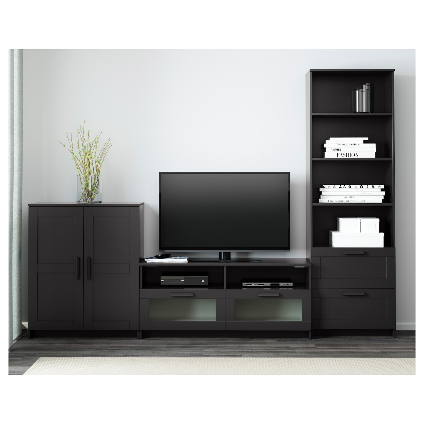 Brimnes Combinaison Meuble Tv Noir 258x41x190 Cm Ikea # Meuble Tv Bibliotheque Ikea