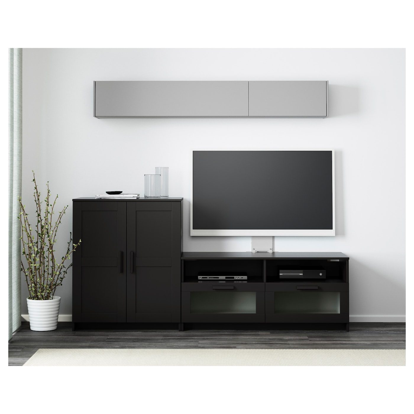 brimnes combinaison meuble tv noir 200 x 41 x 95 cm ikea. Black Bedroom Furniture Sets. Home Design Ideas