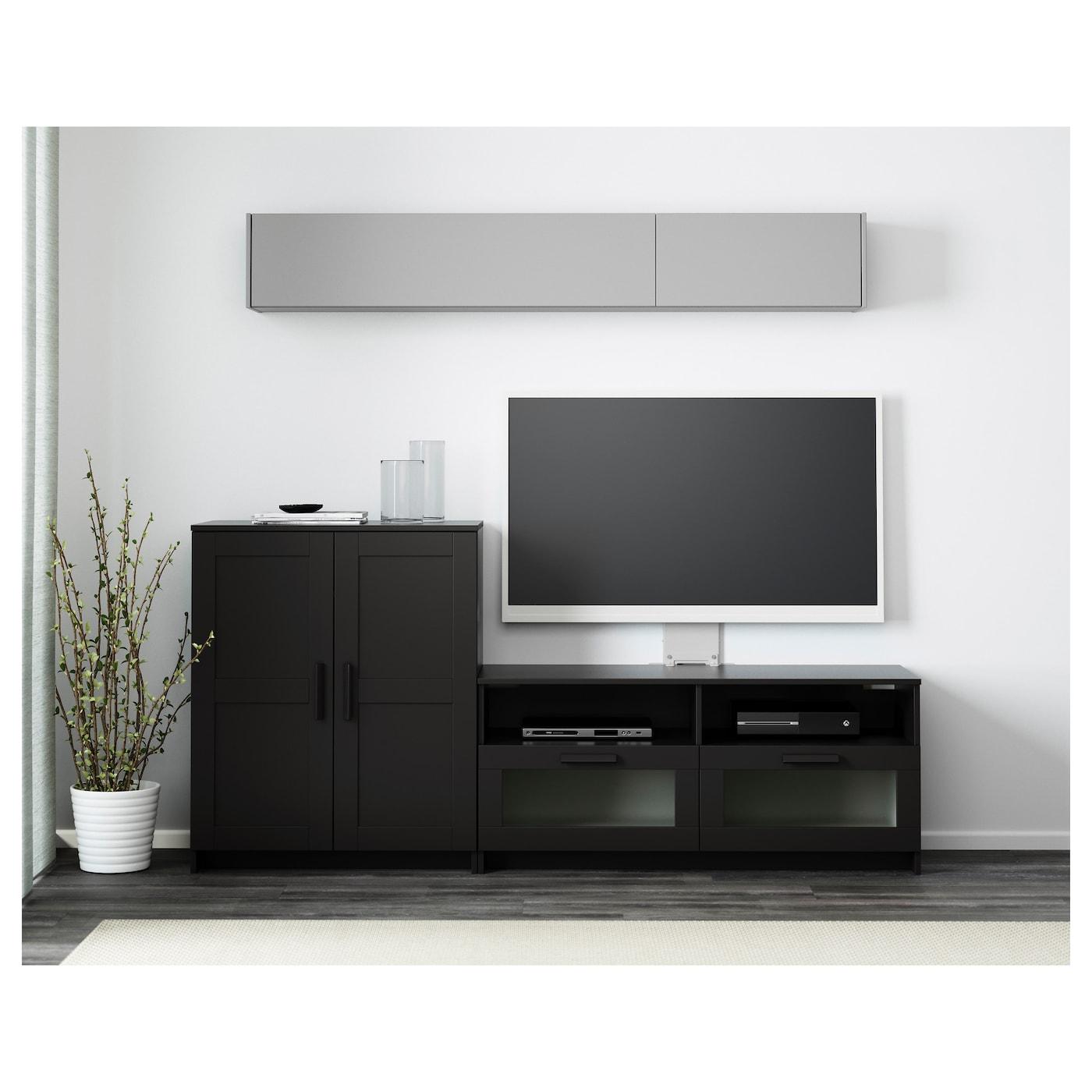 Brimnes Combinaison Meuble Tv Noir 200x41x95 Cm Ikea # Meuble Tele Noir