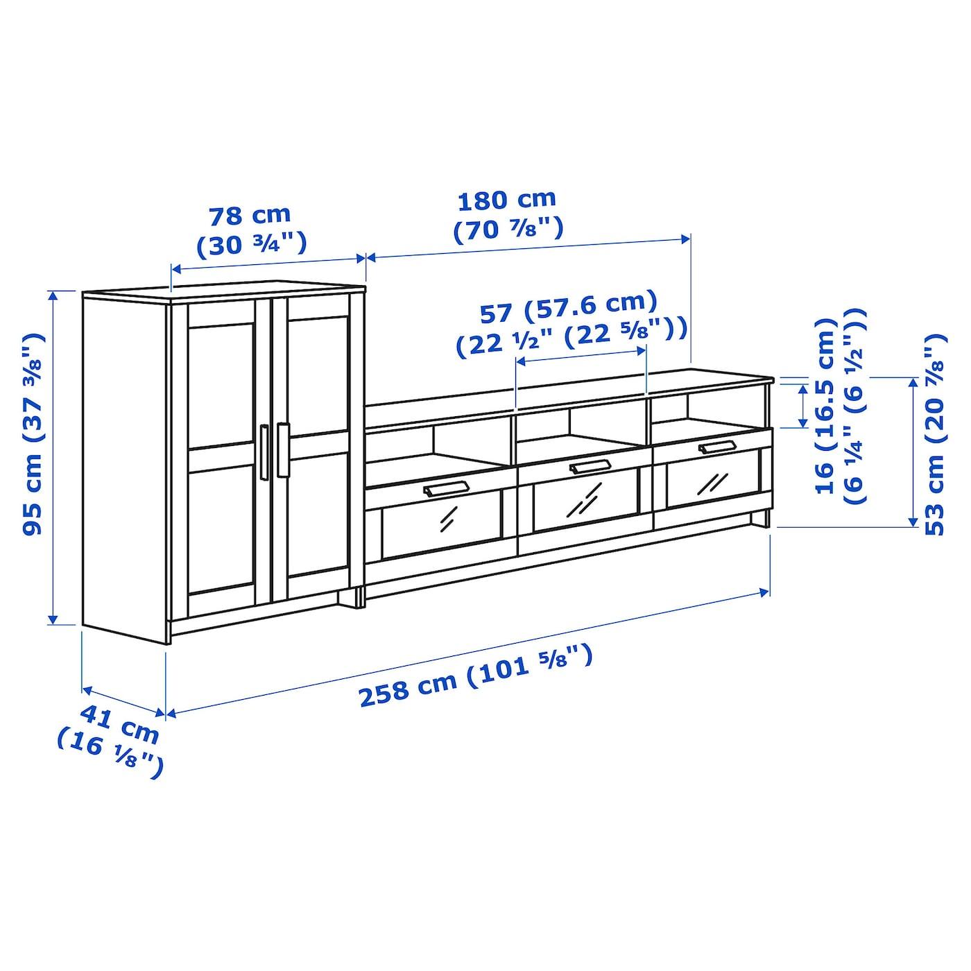 Brimnes Combinaison Meuble Tv Noir 258 X 41 X 95 Cm Ikea