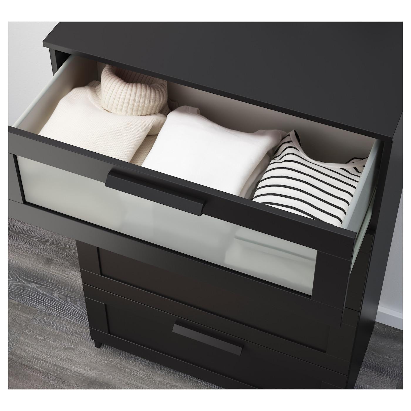 brimnes commode 4 tiroirs noir verre givr 78x124 cm ikea. Black Bedroom Furniture Sets. Home Design Ideas