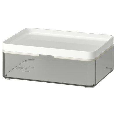 BROGRUND Boîte, gris transparent/blanc