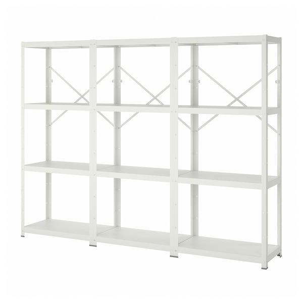 BROR 3 sections/étagères, blanc, 254x40x190 cm