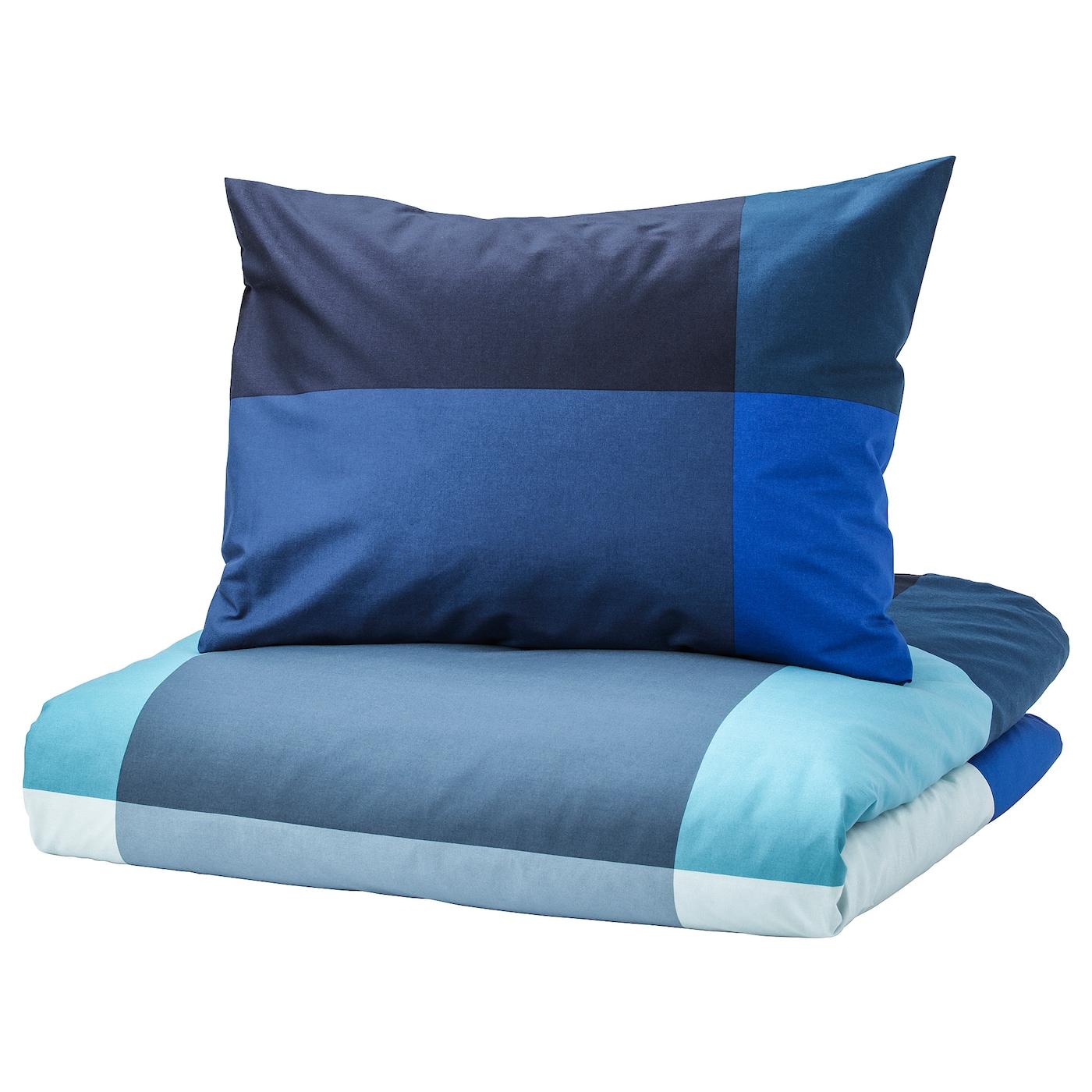 Brunkrissla Housse De Couette Et 2 Taies Bleu Gris 240 X 220 50 X 60