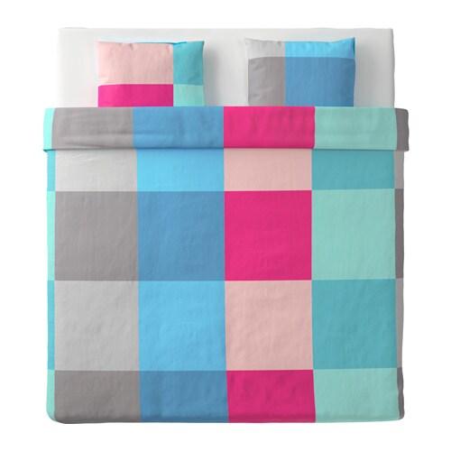 brunkrissla housse de couette et 2 taies multicolore 240x220 50x60 cm ikea. Black Bedroom Furniture Sets. Home Design Ideas