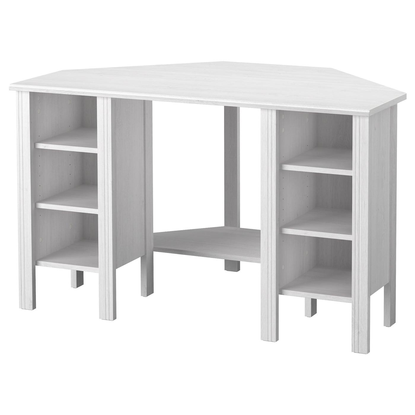 brusali bureau d'angle blanc 120 x 73 cm - ikea