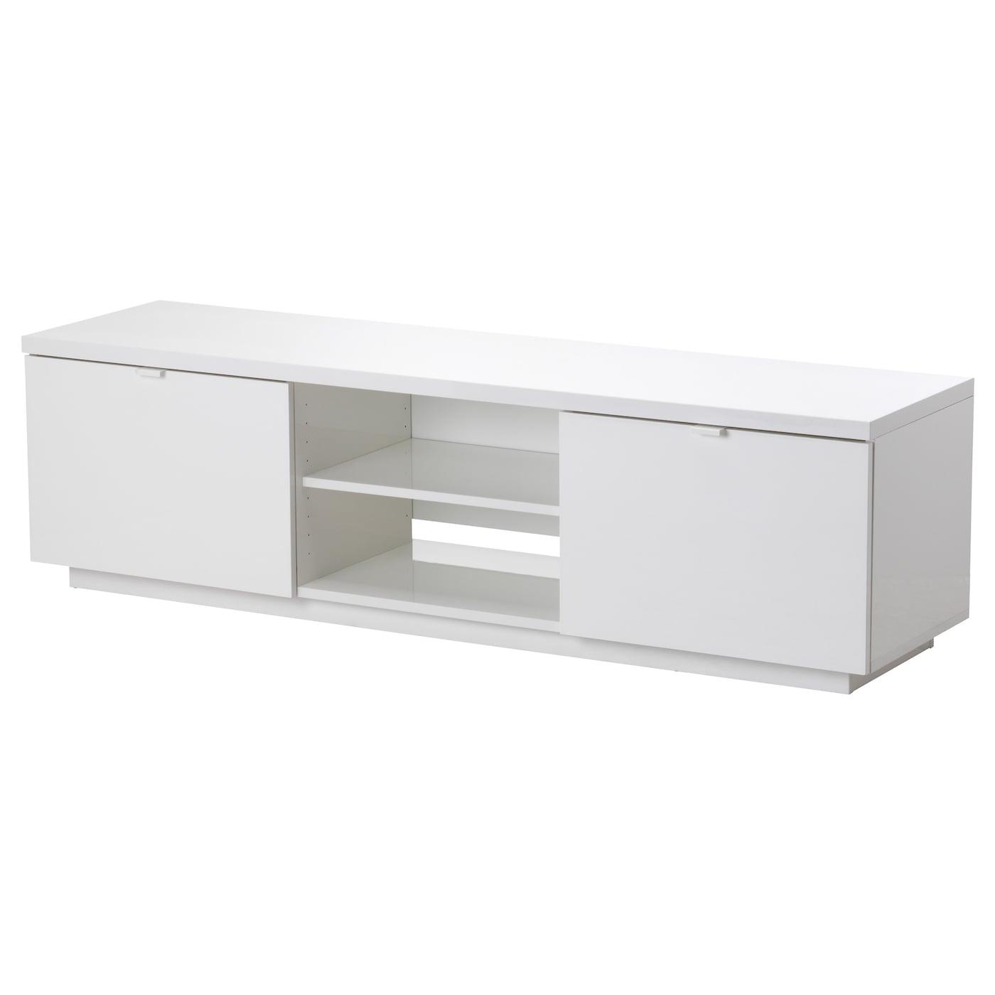 By s banc tv brillant blanc 160x42x45 cm ikea for Banc blanc ikea