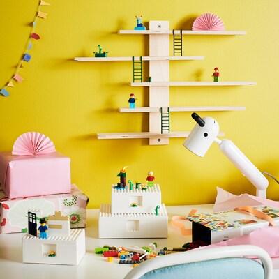 BYGGLEK Kit 5p, 4 boîtes+1 étagère murale