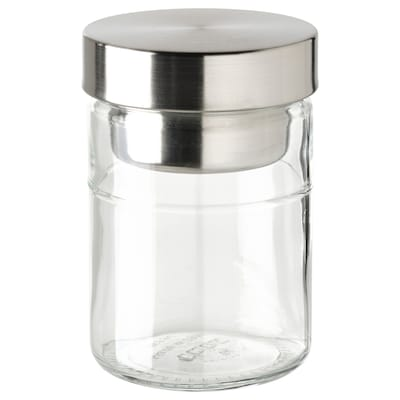 DAGKLAR Bocal avec contenant, verre transparent/acier inoxydable, 0.4 l