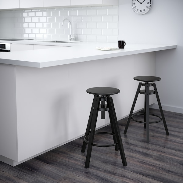DALFRED Tabouret de bar, noir, 63-74 cm