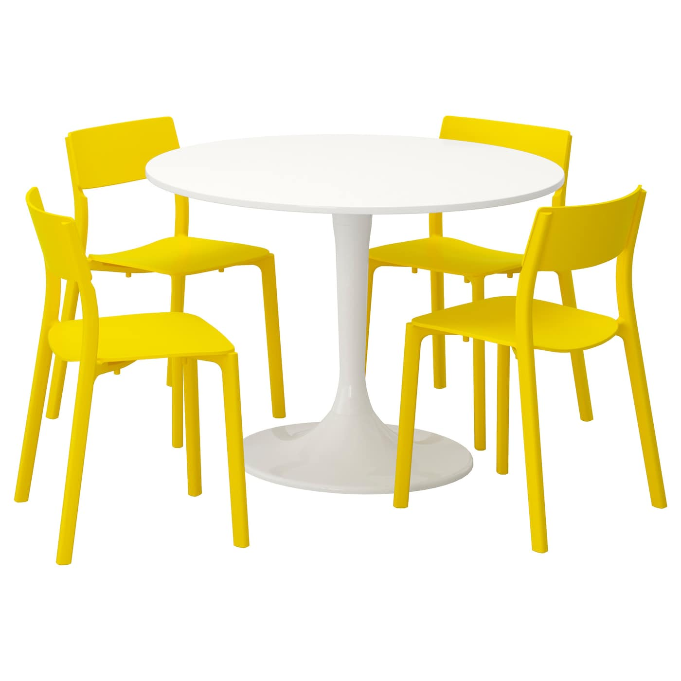 docksta janinge table et 4 chaises blanc jaune 105 cm ikea. Black Bedroom Furniture Sets. Home Design Ideas