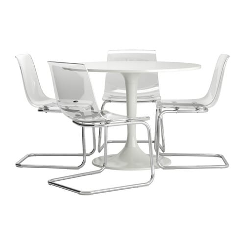 Docksta tobias table et 4 chaises blanc transparent 105 cm for Chaise tobias ikea