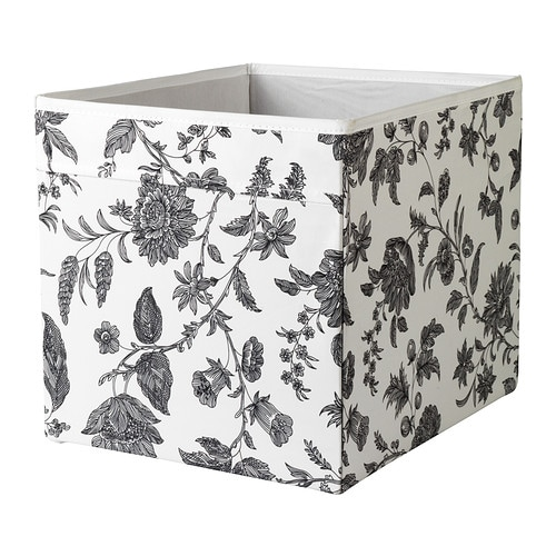 dr na rangement tissu motif floral noir blanc 33x38x33 cm ikea. Black Bedroom Furniture Sets. Home Design Ideas
