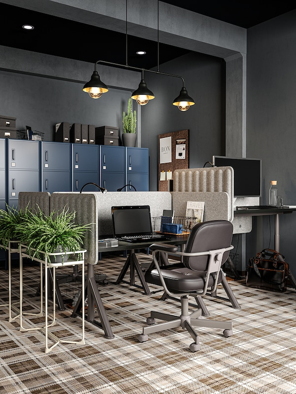 EILIF Séparateur bureau, gris, 160x48 cm