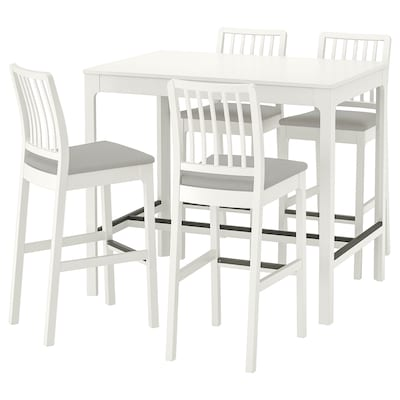 EKEDALEN Table de bar+4 tabourets, blanc/Orrsta gris clair, 120 cm