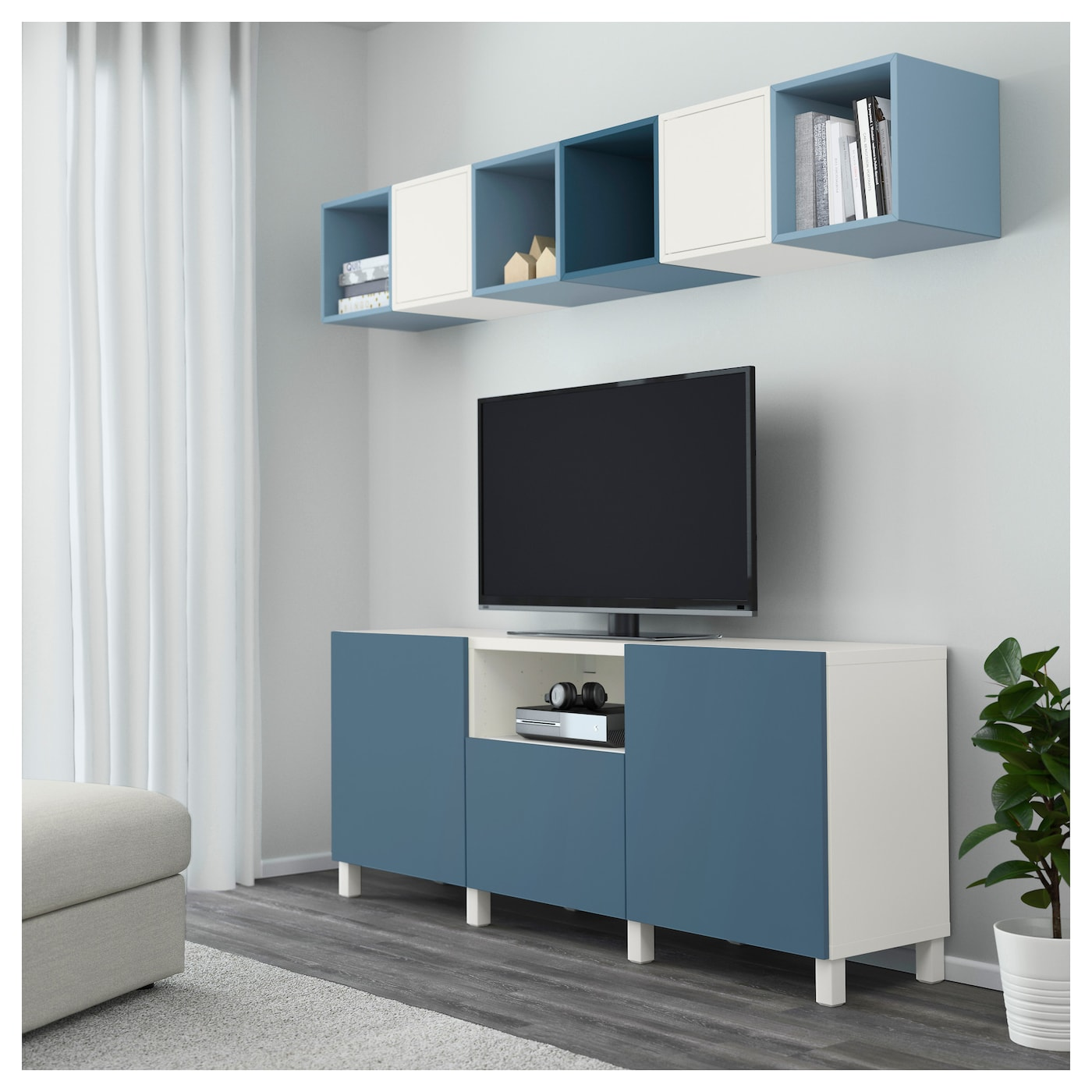 eket best combinaison rangement tv blanc bleu clair bleu fonc 210x40x220 cm ikea. Black Bedroom Furniture Sets. Home Design Ideas