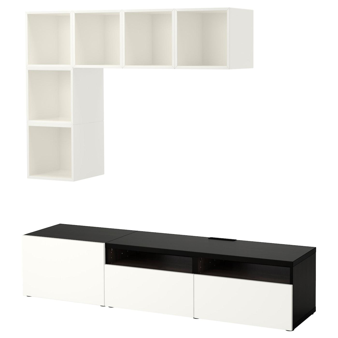 eket best combinaison rangement tv blanc brun noir brillant blanc 180x40x170 cm ikea. Black Bedroom Furniture Sets. Home Design Ideas