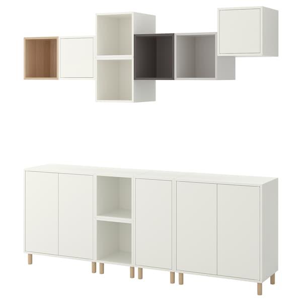 EKET Combinaison rangement avec pieds, blanc effet chêne blanchi/gris clair/gris foncé, 210x35x210 cm