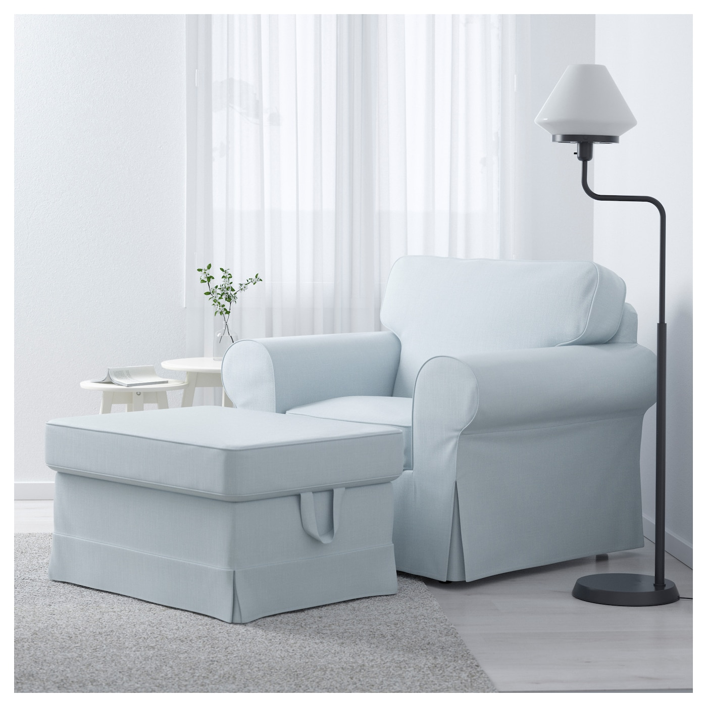 ektorp repose pieds nordvalla bleu clair ikea. Black Bedroom Furniture Sets. Home Design Ideas