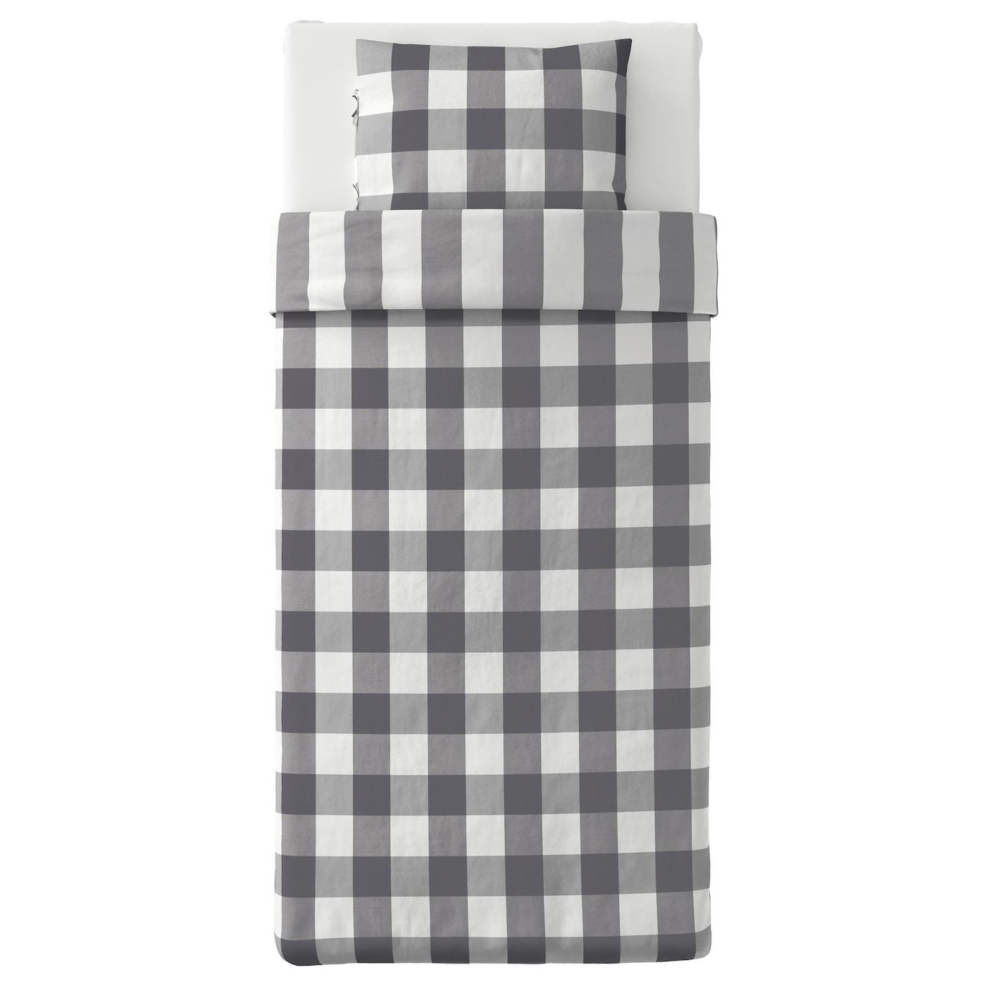 emmie ruta housse de couette et taie gris fonc blanc 150x200 50x60 cm ikea. Black Bedroom Furniture Sets. Home Design Ideas