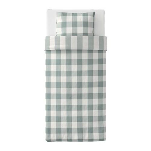 emmie ruta housse de couette et taie vert blanc 150x200 50x60 cm ikea. Black Bedroom Furniture Sets. Home Design Ideas
