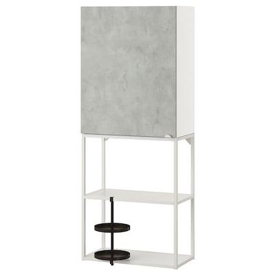 ENHET Combinaison rangement murale, blanc/imitation ciment, 60x30x150 cm