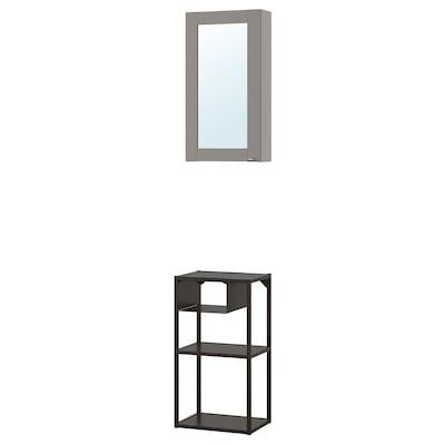 ENHET Combinaison rgmt mur av porte mir, anthracite/gris avec cadre, 40x30x150 cm