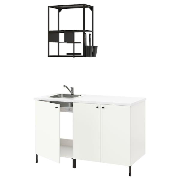 ENHET Cuisine, anthracite/blanc, 143x63.5x222 cm