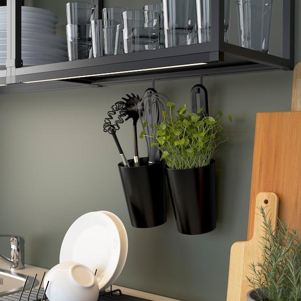 ENHET Cuisine, anthracite/gris avec cadre, 183x63.5x222 cm
