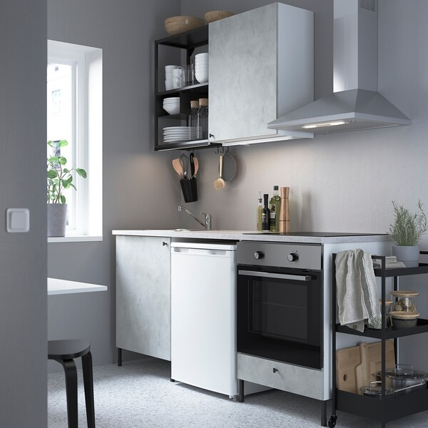 ENHET Cuisine, anthracite/imitation ciment, 183x63.5x222 cm