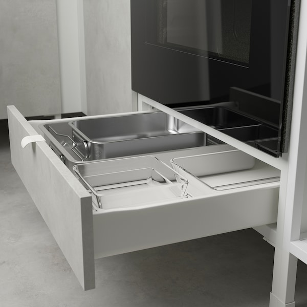 ENHET Cuisine, anthracite/imitation ciment, 323x63.5x241 cm