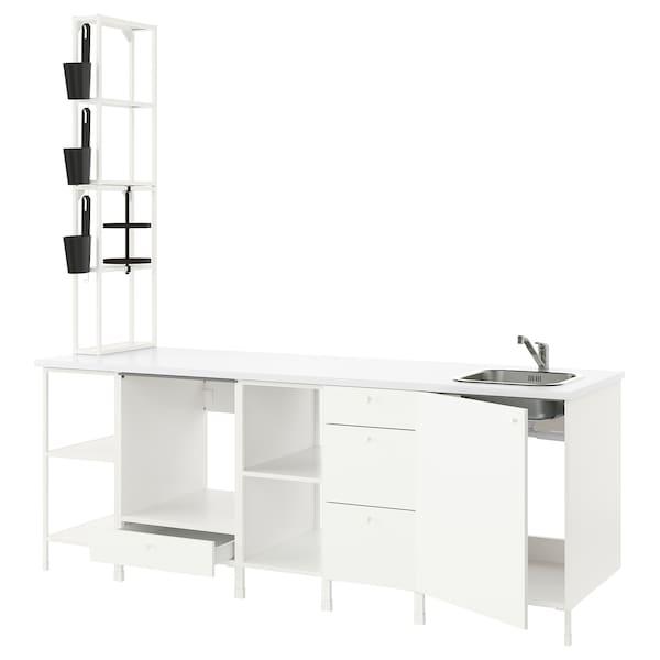 ENHET Cuisine, blanc, 243x63.5x241 cm