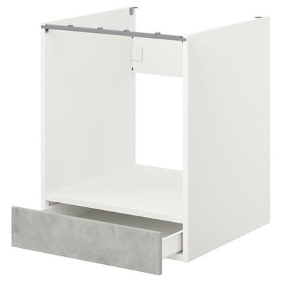 ENHET Élément bas pour four avec tiroir, blanc/imitation ciment, 60x62x75 cm