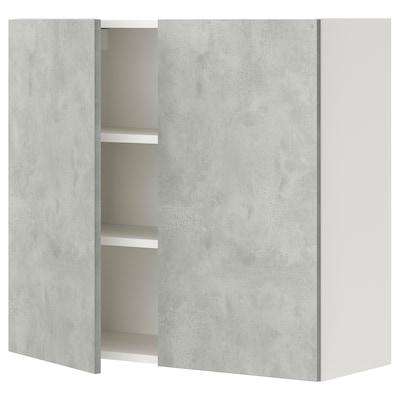 ENHET Élément mural 2 tablettes/portes, blanc/imitation ciment, 80x32x75 cm