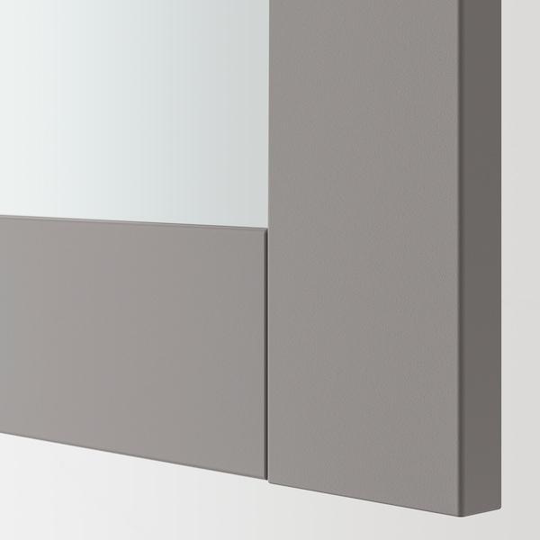 ENHET Porte miroir, gris avec cadre, 40x75 cm