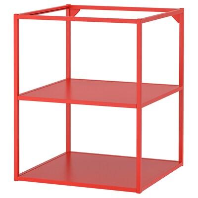 ENHET Structure basse avec étagères, rouge orange, 60x60x75 cm
