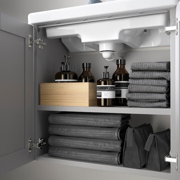 ENHET / TVÄLLEN Élément lavabo à 2 portes, gris avec cadre/gris Pilkån mitigeur lavabo, 64x33x65 cm