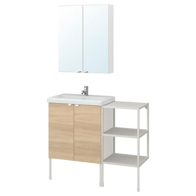 ENHET / TVÄLLEN Mobilier salle de bain, 14 pièces, motif chêne/blanc Pilkån mitigeur lavabo, 102x43x87 cm