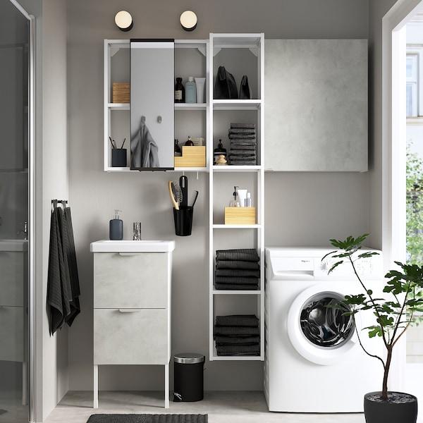 ENHET / TVÄLLEN Mobilier salle de bain, 16 pièces, imitation ciment/blanc Pilkån mitigeur lavabo, 44x43x87 cm