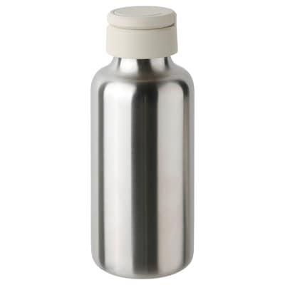 ENKELSPÅRIG Bouteille à eau, acier inoxydable/beige, 0.5 l