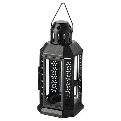 ENRUM Lanterne bougies ch-plat, int/ext, noir, 22 cm