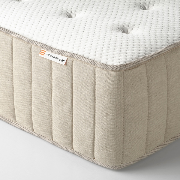 ESPEVÄR/VATNESTRÖM Lit/sommier tapissier, blanc/ferme naturel, 90x200 cm