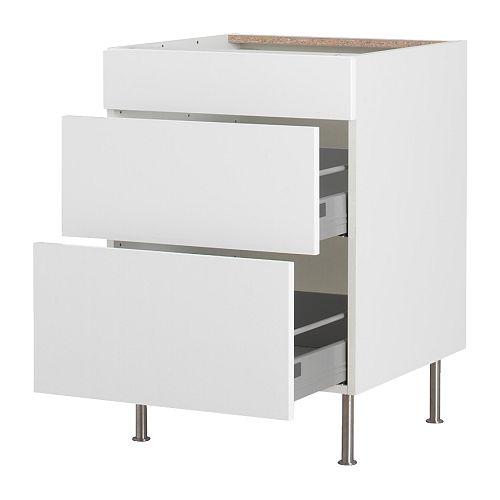 Faktum l ment bas 3 tiroirs abstrakt blanc 40 cm ikea for Ikea cuisine abstrakt blanc