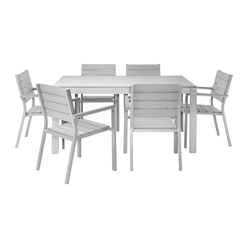 Falster table 6 chaises accoud ext rieur gris ikea for Mobilier exterieur ikea