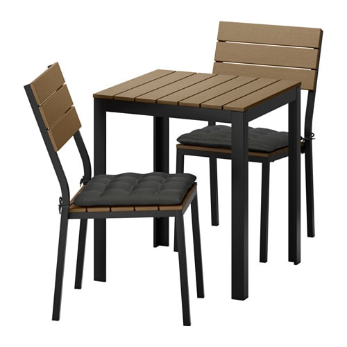 Falster table 2 chaises ext rieur falster brun noir h ll noir ikea - Chaises exterieur ikea ...