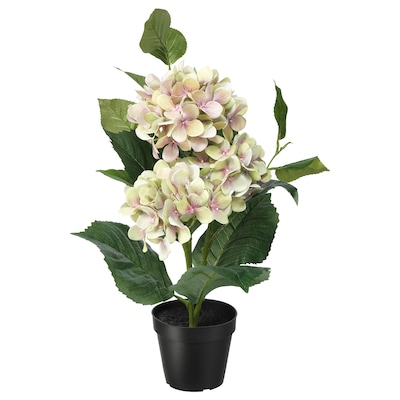 FEJKA plante artificielle en pot intérieur/extérieur/Hydrangea vert 12 cm 50 cm