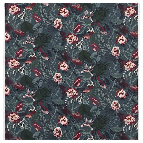 FILODENDRON Tissu au mètre, bleu foncé/à motif floral, 150 cm