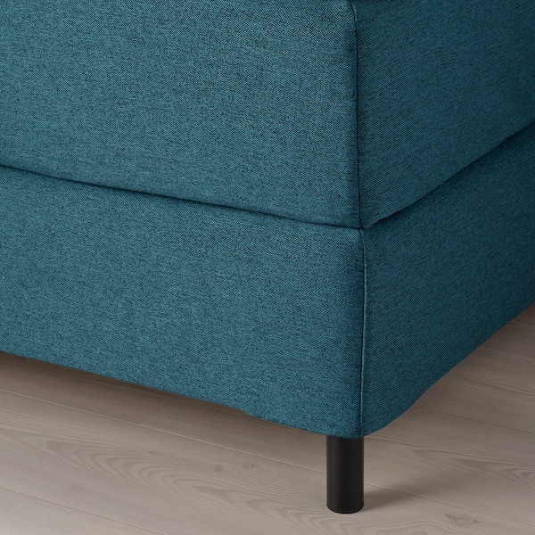 FINNSNES Lit/sommier, Hövåg mi-ferme/Tustna bleu, 160x200 cm