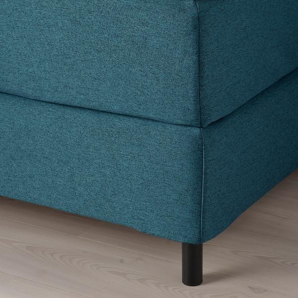 FINNSNES Lit/sommier, Hyllestad mi-ferme/Tussöy bleu, 160x200 cm