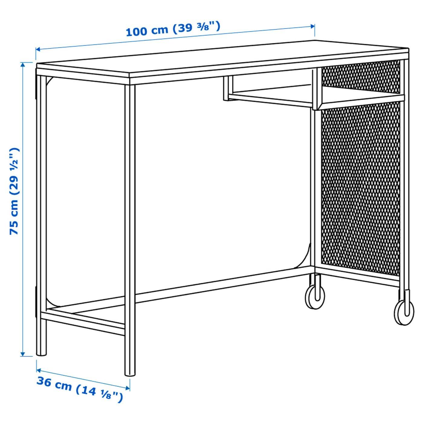 Fj llbo table ordinateur portable noir 100x36 cm ikea for Table d ordinateur portable ikea